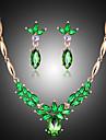 Pentru femei Perle Zirconiu Cubic Set bijuterii Σκουλαρίκια Coliere - Vintage Draguț Petrecere Modă Verde Smarald Seturi de bijuterii