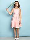 A-linje Scoop Neck Knelang Heldekkende blomsterblonder Junior brudepikekjole med Blonder av LAN TING BRIDE® / Naturlig / Mini-meg