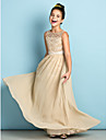 A-Line Scoop Neck Floor Length Chiffon Lace Junior Bridesmaid Dress with Lace by LAN TING BRIDE®