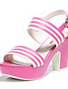 Damă Pantofi Imitație de Piele Vară Toc Îndesat pentru Casual Fucsia