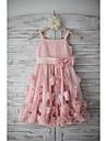 A-line genunchi lungime floare fata rochie - chiffon curele fără mâneci cu flori