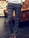 A bărbaților Pantaloni Drăguți Bumbac Plisat Casual / Mărime Mare Maro / Gri