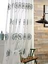 Margine cu inele de trecere Pliuri Triple Două Panouri Tratamentul fereastră Modern Neoclasic Țara, Jacquard Dormitor Poliester Material