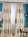 Hyls-topp Dubbel veckad Två paneler Fönster Behandling Moderna Nyklassisistisk Land, Broderi Sovrum Linne/Bomull blend Material gardiner