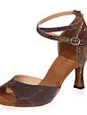 בגדי ריקוד נשים נעליים לטיניות נצנצים סנדלים עקב רחב ללא התאמה אישית נעלי ריקוד חום / כחול / מוזהב / בבית / הצגה / עור / אימון
