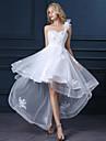 A-linie un umăr asimetrice satin rochie de mireasa cu aplicatii de lan ting bride®