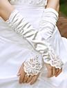Polyester Satin Bumbac Lungime Încheietură Lungime Cot Mănușă Charm Stilat Mănuși de Mireasă With Acrilic Broderie Solid