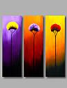 HANDMÅLAD Blommig/Botanisk Vertikal, Moderna Duk Hang målad oljemålning Hem-dekoration Tre paneler