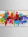 HANDMÅLAD Abstrakt Horisontell, Moderna Duk Hang målad oljemålning Hem-dekoration Två paneler