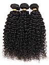 Äkta hår Brasilianskt hår Human Hår vävar Sexigt Lockigt Lockig weave Hårförlängningar 3 delar Svart Naurlig färg