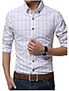 Bărbați Cămașă Casul/Zilnic Muncă Elegant Plus SizeMată Dungi Imprimeu Plisat Manșon Lung Bumbac In