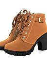 Damă Pantofi Imitație de Piele Primăvară Toamnă Iarnă Cizme de Combat Toc Gros Cizme Medii Dantelă Pentru Casual Negru Galben Verde