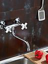 Nutida Bar / Prep Väggmonterad Mässing Ventil Två handtag två hål Krom, Kökskran