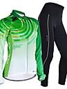 Nuckily Dam Långärmad Cykeltröja och tights - Grön Geometrisk Cykel Tröja Klädesset, Snabb tork, Anatomisk design, Andningsfunktion,