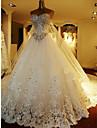a-line drăguț catedrală rochie tul de nunta cu beading de mireasa brodate