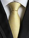 bărbați moda lumina de aur verificate jacquard țesute cravată cravată