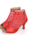 Pentru femei Pantofi Salsa Dantelă / Satin / Sintetic Sandale / Cizme / Adidași Performanță Ținte / Flori din Satin / Flori Toc Flared