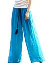 femeile de moda mijlocul creste pantaloni inelastice blugi, boho larg picior solid