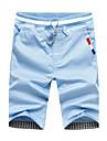 Bărbați Pantaloni Talie medie,Inelastic Drept Relaxat Pantaloni Mată Culoare solidă