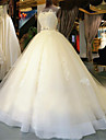 rochie de bal baliză gât capelă tul de rochie de mireasă cu nunta brodată de mireasă