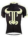 ILPALADINO Homme Manches Courtes Maillot de Cyclisme - Noir/jaune. Velo Maillot, Sechage rapide, Resistant aux ultraviolets, Respirable