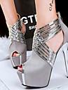 Damă Pantofi Imitație de Piele Primăvară Vară Toamnă Toc Stilat Decupat Pentru Rochie Party & Seară Negru Gri Albastru Roz