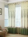 Două Panouri Țara / Modern / Neoclasic / Mediteranean / European Floral / Botanic Albastru / Verde / Roz Dormitor PoliesterPanou Perdele
