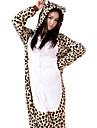 Adulto Pijamas Kigurumi Leopardo Pijamas de una pieza Franela Vellon Marron Cosplay por Hombre y mujer Ropa de Noche de los Animales Dibujos animados Festival / Celebracion Disfraces