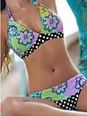 Pentru femei Boho Bikini - Imprimeu, Buline Floral Halter Cheeky