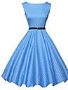 Pentru femei Vintage Linie A Patinatoare Rochie Buline Lungime Genunchi Albastru