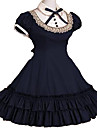 Maid Costume Princess Gothic Lolita Dress School Lolita Ruffle Sweet Lace Women\'s Girls\' Dress Cosplay Red / Blue / Pink Cap Sleeve Short Sleeve Knee Length Costumes