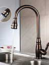 Antique Pull-out / Pull-down Set de centre Avec spray demontable Pivotant with  Soupape ceramique Mitigeur un trou for  Bronze huile ,