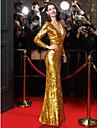A tubino A V Lungo Con strass Serata formale Vestito con Lustrini di TS Couture®