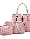 Femei Genți Toate Sezoanele PU Seturi de sac Set de pungi 3 buc pentru Cumpărături Casual Oficial Bej Albastru Roz