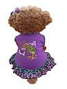 Hond Jurken Hondenkleding Hart dier Paars Katoen Kostuum Voor Zomer