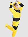Adulto Pijamas Kigurumi Abeja Pijamas de una pieza Vellon de Coral Amarillo Cosplay por Hombre y mujer Ropa de Noche de los Animales Dibujos animados Festival / Celebracion Disfraces