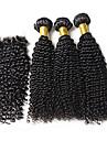 Hår Inslag med Stängning Curly Weave Sexigt Lockigt Hårförlängningar Brasilianskt hår Naurlig färg Hårförlängning av äkta hår 0.34