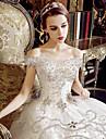 a-line off-the-umăr rochie de mână lungime tul de nunta cu cristal de yuanfeishani