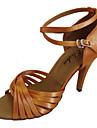 Pentru femei Pantofi Dans Latin / Sală Dans Satin Sandale / Călcâi Cataramă Personalizabili Pantofi de dans Galben / Fucsia / Violet / Piele