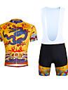 ILPALADINO Herr Kortärmad Cykeltröja med Haklapp-shorts - Gul Cykel Bib Shorts Tröja Klädesset, 3D Tablett, Snabb tork, UV-Resistent,