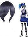 Black Butler Ciel Phantomhive Erkek Kadın\'s 12 inç Isı Dirençli Fiber Siyah Anime Cosplay Perukları