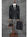 שחור דפוס גזרה מחוייטת פוליאסטר חליפה - סגור Single Breasted One-button / דוגמא \ הדפס / חליפות