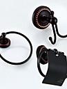 Badrumstillbehörsset Antik Mässing 3pcs - Hotellbad torn ring Robe Hook Toalettpappershållare