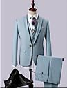Albastru celest Mată Slim Fit Poliester / Rayon (T / R) Costum - Cresătură Un singur rând, un nasture