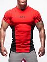 Herr T-shirt för jogging Kortärmad Hög Styrka Mjuk Svettavvisande Bekväm Överdelar för Motion & Fitness Löpning Bomull Chinlon Svart Röd