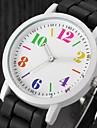 Damen Uhr Armbanduhr Quartz Silikon Schwarz / Weiss / Blau Armbanduhren fuer den Alltag Analog damas Charme Freizeit Modisch Schwarz / Weiss Regenbogen Leicht Gruen
