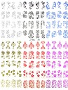 nya 3d 108 st spets blomma vatten överföring designen negl konst klistermärken dekaler för uv gel polska naglar tips dekoration verktyg