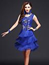 Latein-Tanz Kleider Damen Leistung Chinlon / Milchfieber Quaste AErmellos Hoch Kleid / Neckwear / Latintanz