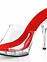 Dame Saboți Vară Toamnă Platforme Balerini Basic Pantofi Club Aprinde saboții PVC Nuntă Casual Party & Seară Toc Stiletto PlatformăNegru
