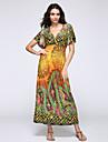 Femme Boheme Balancoire Robe Plage Boheme,Cachemire Col en V Maxi Manches Courtes Bleu Rose Jaune Coton Polyester Ete Taille Haute